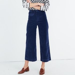Madewell Emmett wide leg crop pants in velveteen